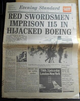 Evening Standard 1970 Hijack Of Japan Airlines Flight 351, Red Army, newspaper