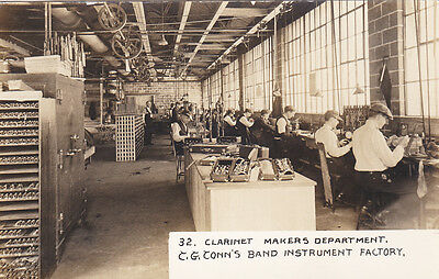 RP: C.G. CONN,  Instruments Factory, ELKHART, Indiana, 00-10s Clarinet Makers