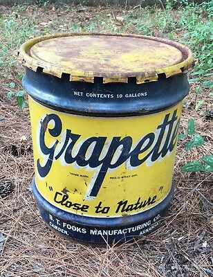 Grapette Soda Syrup Vintage 10 Gallon Metal Drum Container Lid Advertising #2