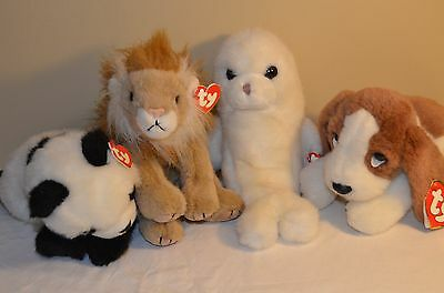 TY Beanie Buddies Lot Misty Seal Bamboo Panda Sahara Lion Sherlock Dog 1997