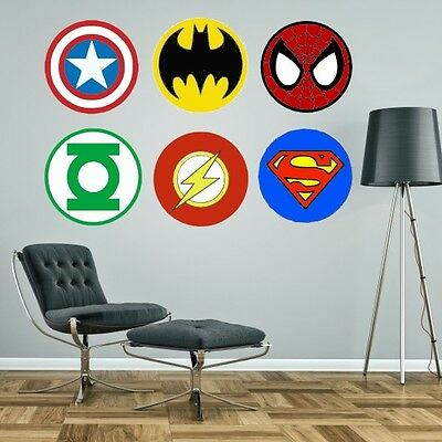 Superheroes logos Marvel Superman Spiderman Batman giant wall stickers kit decal