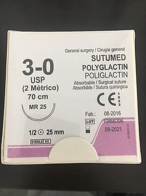 SUTUMED POLYGLACTIN 3-0, 1/2 25mm needle Surgical Suture