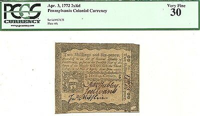 1772 Pennsylvania 2 Shillings 6 Pence Colonial Currency Note ~ Pcgs Very Fine 30