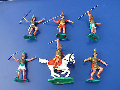 6 x vintage Timpo Romans - Roman foot soldiers - one mounted on horse