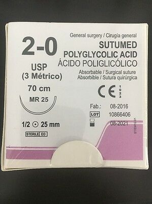 SUTUMED POLYGLYCOLID ACID 2-0, 1/2 25mm needle Surgical Suture