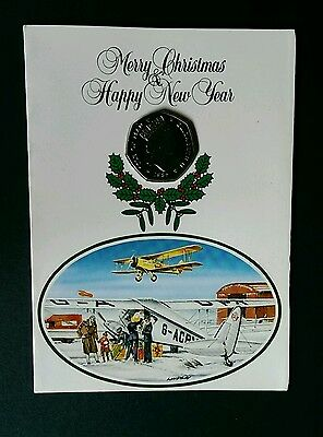 1985 Isle Of Man Brilliant Uncircualted Chritmas 50P Pence In Card