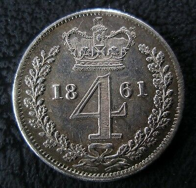 1861 Victoria Maundy Fourpence Coin