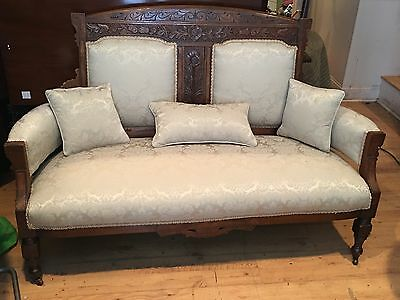 Antique Victorian EastLake Settee Sofa Love Seat Couch NICE CLEAN UPHOLSTERY