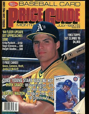 SCD Baseball Card Price Guide July 1990 Jose Canseco w/Mint Cards jhscd2