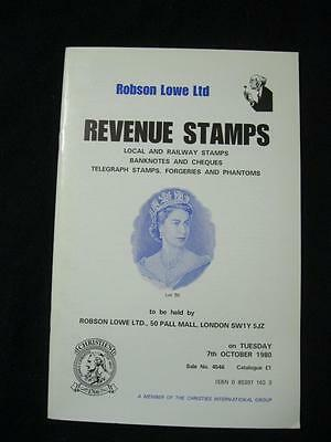 Robson Lowe Auction Catalogue 1980 Revenue Stamps