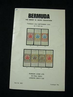 Robson Lowe Auction Catalogue 1975 Bermuda 'hicks' Collection