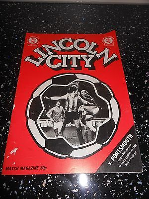 Lincoln city v portsmouth   football programme saturday 29th march   1980