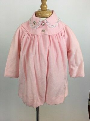 Vintage 1960s Baby Toddler Pinafore Dress Coat Pale Pink Easter