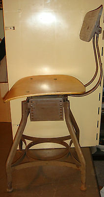 Antique Vtg Metal Drafting Chair Stool Office Desk Shop Industrial Machine Age