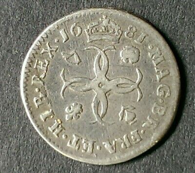 1681 Charles Ii Silver Maundy Fourpence Coin
