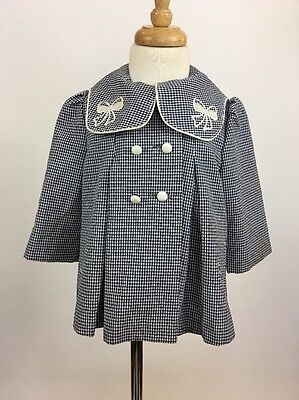 Vintage 1960s Style Baby Toddler Dress Coat Navy Houndstooth Bows 18 Months