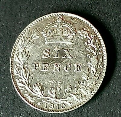 1910 Edward Vii Silver Sixpence Coin