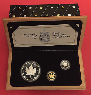 1989 CANADA Maple Leaf 10th Anniversary Proof Set, Silver, Gold + Platinum