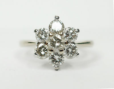 Stunning `18Ct 0.75 Diamond Cluster Ring