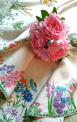 Vintage  Hand Embroidered Oval Linen Tablecloth Stunning
