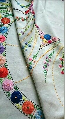 Vintage  Hand Embroidered Square Linen Tablecloth