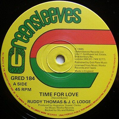 """RUDDY THOMAS AND J.C. LODGE: Time For Love (Greensleeves)  1985 12"""" single"""