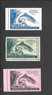 OLDER 1950s NEW JERSEY TROUT STAMPS: (3) MNH - RESIDENT '53 & '55, NON-RES '55