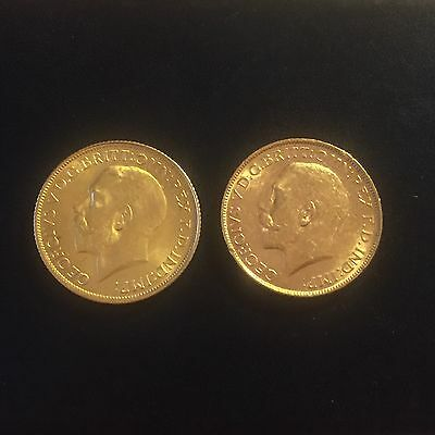 Two x Full Gold Sovereigns George V 1914 and 1915 (P) Both Perth Mint