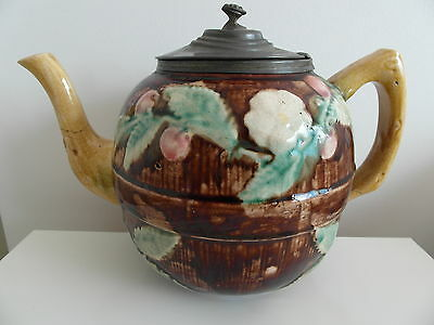Antique Victorian Floral  Majolica  Teapot With Pewter Lid Circa 1880