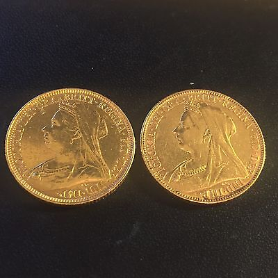 Two x Full Gold Sovereigns Victoria 1893 and 1898 (M) Both Melbourne Mint