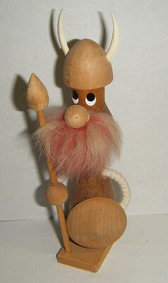 "Cute Vtg Danish Modern Teak Wood Viking With Pink Fur Beard 6"" Made In Denmark"