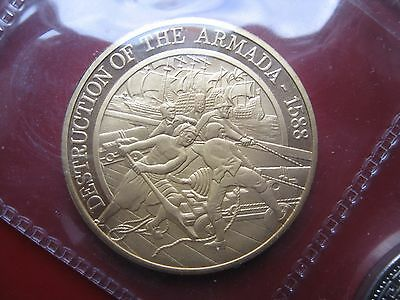 Destruction of Spanish Armada 1588 - 1988 Plymouth Gold-plated Crown Medal