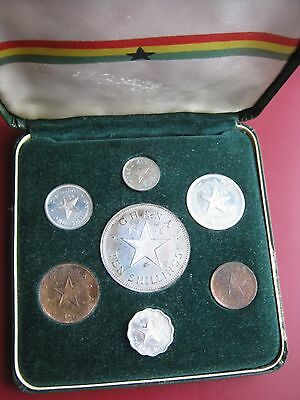 Ghana 1958 7 coin proof set 1/2 Penny - 10 Shilling Silver Coin boxed