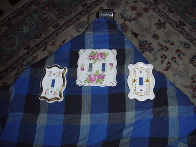 Vintage Hand Painted Porcelain Switch Plate Cover Lot Of 3 Mix Matched VG !