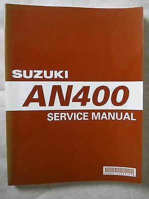 Suzuki An400 Service Manual.   Soft Back In Very Good, Clean Condition