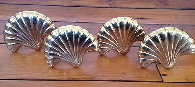 Set of 4 Vintage Solid Heavy Bright Brass Metal Scallop Shell Curtain Tie Backs