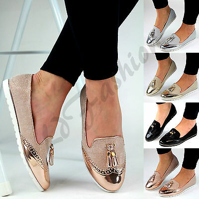 New Womens Loafers Brogue Ballet Glitter Metallic Tassel Pumps Casual Flat Shoes