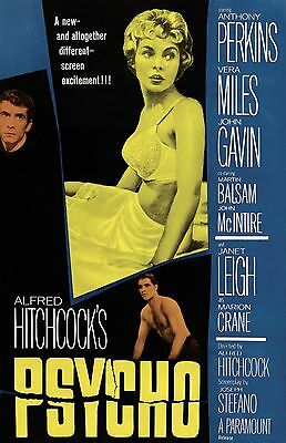 Psycho movie poster : 11 x 17 inches : Anthony Perkins, Janet Leigh, Hitchcock