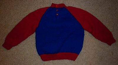 Vintage Hand Knit Red/blue Toddler Jumper Exc- Condition