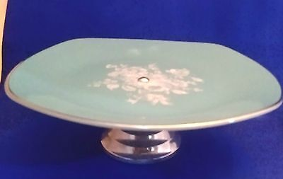 """Vintage MIDWINTER """"Blue Rhapsody"""" Turquoise Cake Stand / Tazza - 8.5"""", 23cm VGC"""
