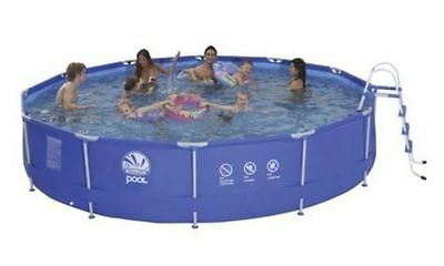 15ft Foot Metal Frame Garden Swimming Pool with Filter Pump and Ladder 3ft Deep