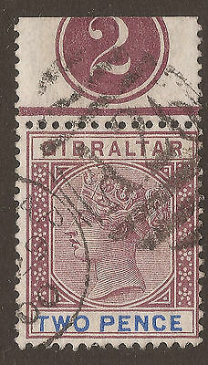 GIBRALTAR. QV. 2d BROWN-PURPLE & ULTRAMARINE. A26 CANCEL. USED.