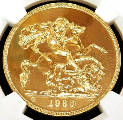 1986 Gold Great Britain 5 Pounds Coin Ngc Mint State 69 Proof Like