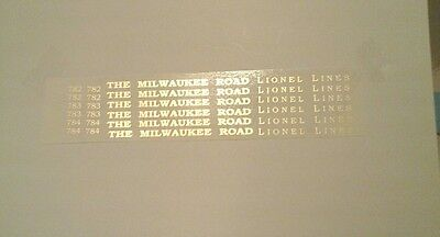 Gold Waterslide Decals: Lionel 782-783-784 Hiawatha Cars For Set Nice Look!