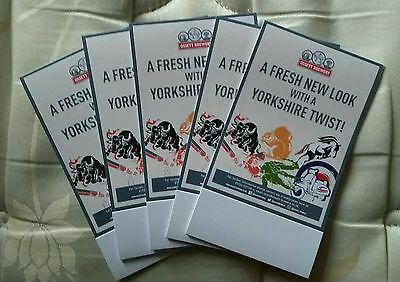 5 New and Unused Ossett Brewery Advertising Stand Cards