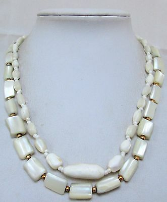Two good vintage/Deco mother-of-pearl bead necklaces