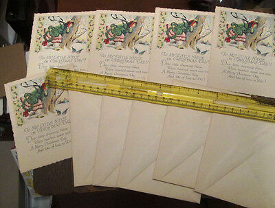 5 Old Unused Stock Art Deco Niece Christmas Single Side Greeting Cards Lot W Env