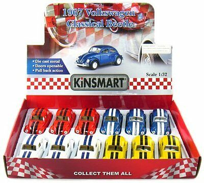 """12 pcs in Box: 5"""" Classic 1967 Volkswagen Beetle with Racing Stripes 1:32 Scale"""