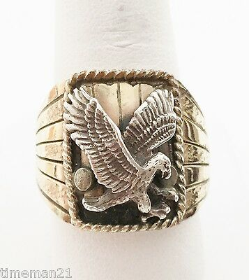 NATIVE AMERICAN INDIAN Silver Ray Navajo Eagle Ring 14K Gold Sterling Size 11.5