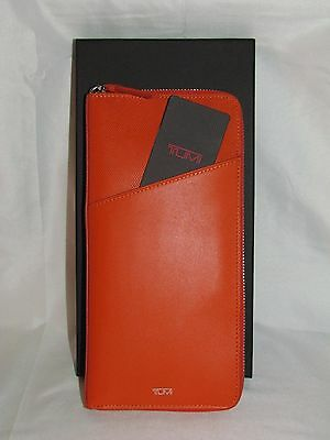 Tumi Orange Leather Zip Around Passport Travel Documents ID Wallet Clutch Purse